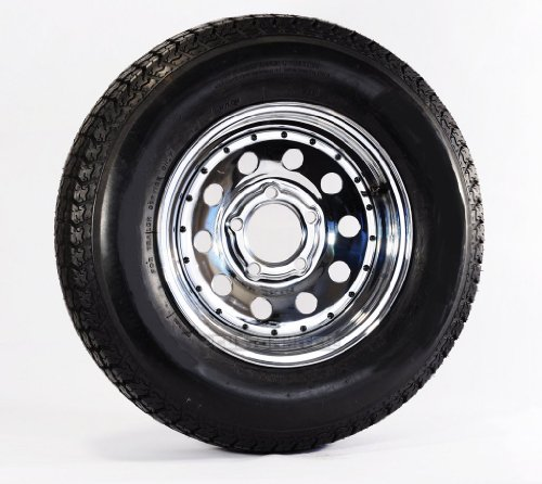 Radial Trailer Tire On Rim ST205//75R14 Load C 5 Lug Silver Spoke Wheel