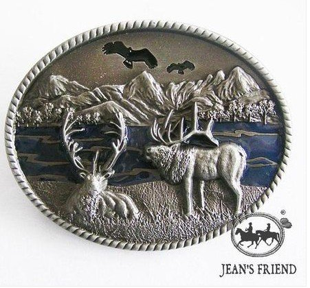 belt buckles men western cowboys cool vintage harley outdoor scene mountains river elk