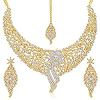 Sukkhi Golden Gold Plated Ad Stone Choker Necklace With Drop Earrring & Mangtikka Set For Women