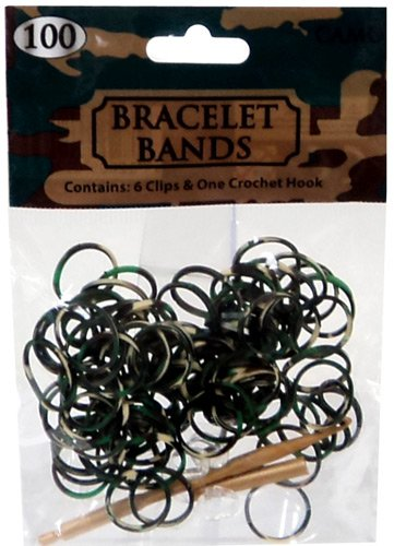 CAMO Tie Dye Camouflage Rubber Band Bracelet 100% Silicone Loops with C Buckle Clips and New and Improved Crochet Tool
