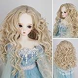 1/3 bjd Doll Wig High Temperature Synthetic Fiber Light Blonde Long Deep Kinky Curly BJD Doll Wig for 1/3 BJD SD Doll(613B) (Color: 613B)