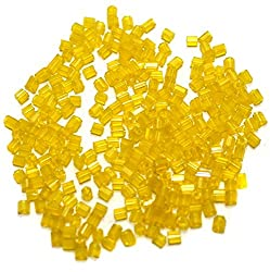 Beadsnfashion 2 Cut Silver Line Seed Bugles Beads Yellow (100 Gm)