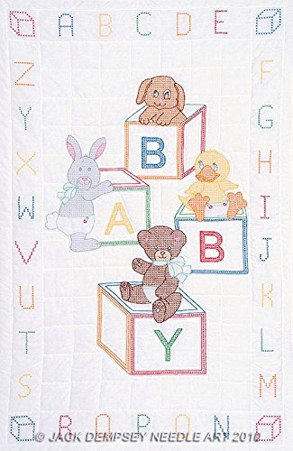 Jack Dempsey Needle Art 4060110 Crib Quilt, Top Baby Block, 40-Inch by 60-Inch, White (Quilt For Baby compare prices)