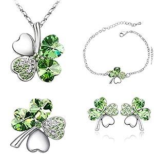 Smileforever Austrial High Grade Crystal Chain Earrings Ring Bracelet-Lucky Clover(C3)