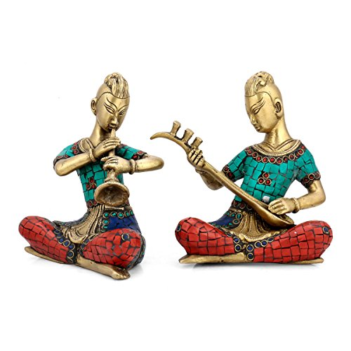 CraftVatika Room Décorative Brass Musician Lady Showpiece Statue Indian Handmade Home Decor