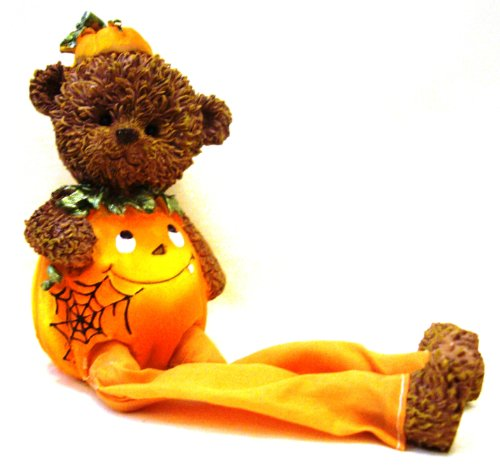 Halloween Ceramic Pumpkin Teddy Bear Shelf Sitter