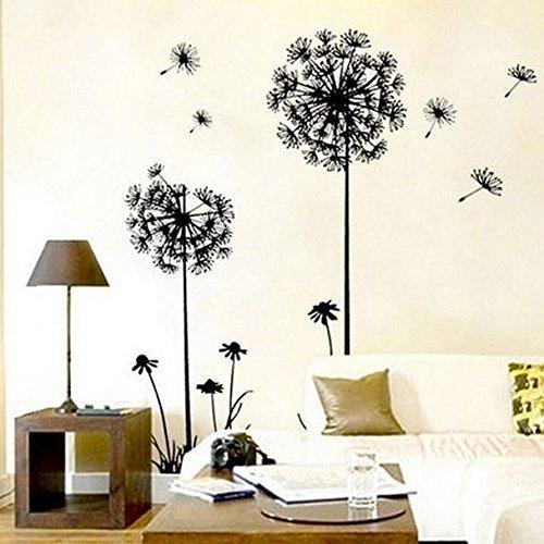 wandsticker4u-wandtattoo-lowenzahn-pusteblumen-schwarz-effektbild130x100-cm-entfernbare-wandaufklebe