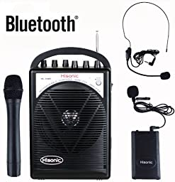 HISONIC HS120BT Portable PA System with Wireless Microphones and Lithium Rechargeable Battery and Car Cable, Bluetooth Connected with Cell Phones and Pads, Black