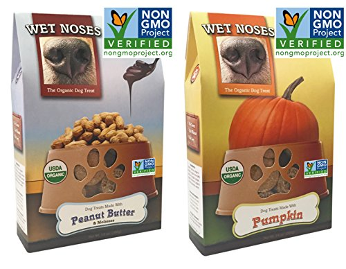 Wet Noses Organic Dog Treats 2 Flavor Variety Bundle: (1) Wet Noses Dog Treats Made With Peanut Butter and Molasses and (1) Wet Noses Dog Treats Made With Pumpkin, 14 Oz Each (2 Packages Total) (Wet Noses Peanut Butter compare prices)