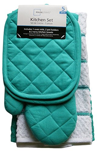 Mainstays Teal Island Kitchen Towel Set 5 Piece- Pot Holders, Oven Mitt & 2 Terry Kitchen Towels (1, A) (Pot Holder Set compare prices)