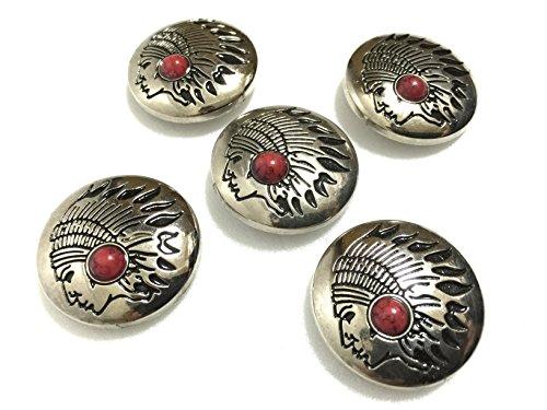 レザークラフト コンチョ ネジ式 飾り ボタン 金具 5個 + 先曲がり ミニペンチ セット (インディアン : レッド)