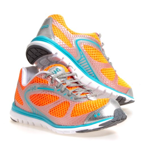 Ryka Women's Aspire Running Shoe,Electric Coral/Chrome Silver/Detox Blue/White/Ash Grey,7.5 B US