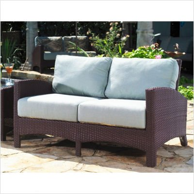 Picture of Anacara Atlantis Wicker Loveseat Fabric: Moritz Flax (B004MAZ3II) (Sofas & Loveseats)