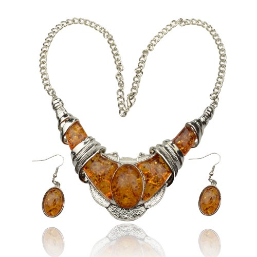 Women's Faux Amber Silver Tone Chain Gem Necklace Pendant Earring Sets A2160K