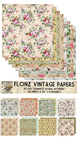 paper-pack-24sh-15x15cm-romantic-vintage-floral-pattern-flonz-vintage-paper-for-scrapbooking-and-cra