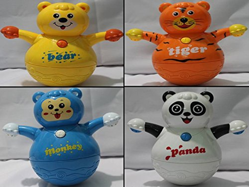 1 Pc Of 4 Pattern Roly Poly Teddy Tiger Panda Monkey Projector Toy For Kids