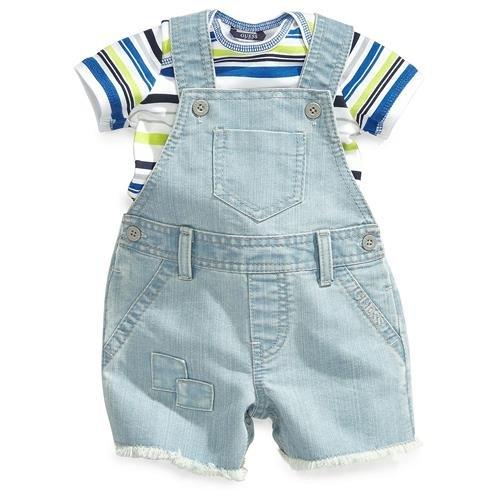 Guess Kids Baby Boys Infant Stripe Tee Shortall Set - 6/9M