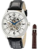 Stuhrling Original Men's 730.SET.01 Delphi Denmark Automatic Skeleton Black Leather Strap Watch with Additional Strap