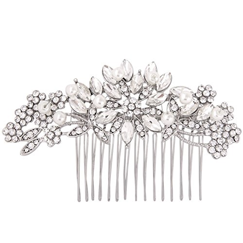 Clear Austrian Crystal Simulated Pearl Bridal Hair Comb Flower Leaves Rhinestone Wedding Hair Accessories