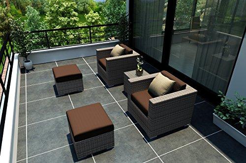 Harmonia Living Urbana 5 Piece Modern Wicker Club Chair Set In Weathered Stone With Brown Sunbrella Cushions (Sku Hl-Urbnws-5Cc-Co)