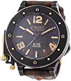 U Boat U-42 Unicum Men's Automatic Watch with Black Dial Analogue Display and Brown Leather Strap 8088