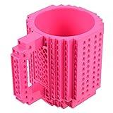 FUBARBAR Build-On Brick Mug - BPA-Free 12ounce Blocks Coffee Cup, Comes with Build-On Building Bricks, Plastic Mug for Coffee Tea Beverage Drinking, Creative and Funny (Rose)