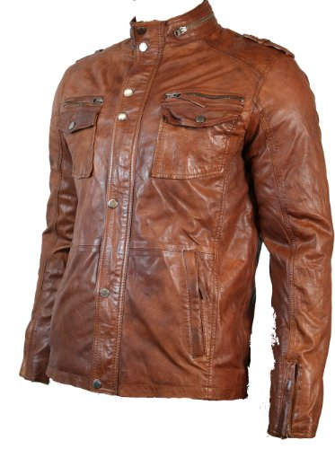 Mens Tan Brown Retro Biker Style Jacket Real Leather Soft Touch Vintage look (L, Tan Brown)