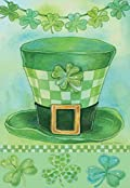 St. Pat's Hat Garden Flag Irish Shamrock Clover Green Decorative 12.5