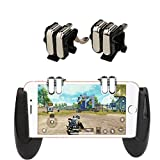Amyove 4-Click Metal PUBG Mobile Controller Portable Gamepad L1 R1 Trigger Aim L1R1 Shooter Phone Game Fire Button Black