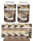 Murica Bald Eagle 6 Pack Can Coolies Tan Camo
