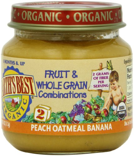 Earth'S Best Organic Fruit & Whole Grain Combinations Baby Food, Peach Oatmeal Banana, 4 Ounce (Pack Of 12)