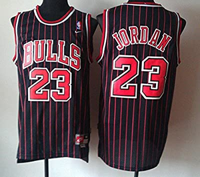Michael Jordan Mens XXL NBA Authentic Chicago Bulls Jersey Black with Red Stripes