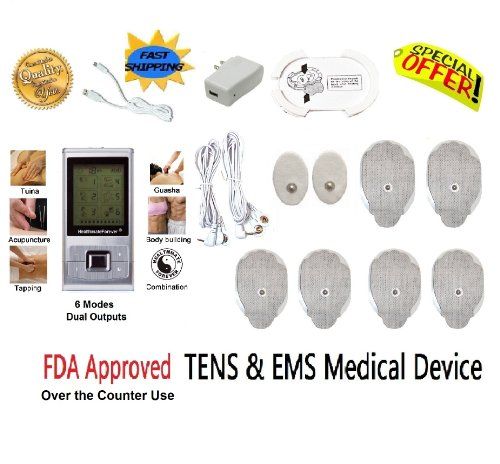 Fda Approved Healthmateforever Nerve Muscle Pain Relief Massager 6 Modes 8 Pcs Pads, Healthmate Forever Lifetime Warranty, Electrotherapy Relaxing Pain Relief Device For Safety And Effectiveness