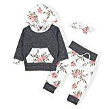 Baby Girls Long Sleeve Flowers Hoodie Tops and Pants Outfit With Kangaroo Pocket Headband(12-18 Months)