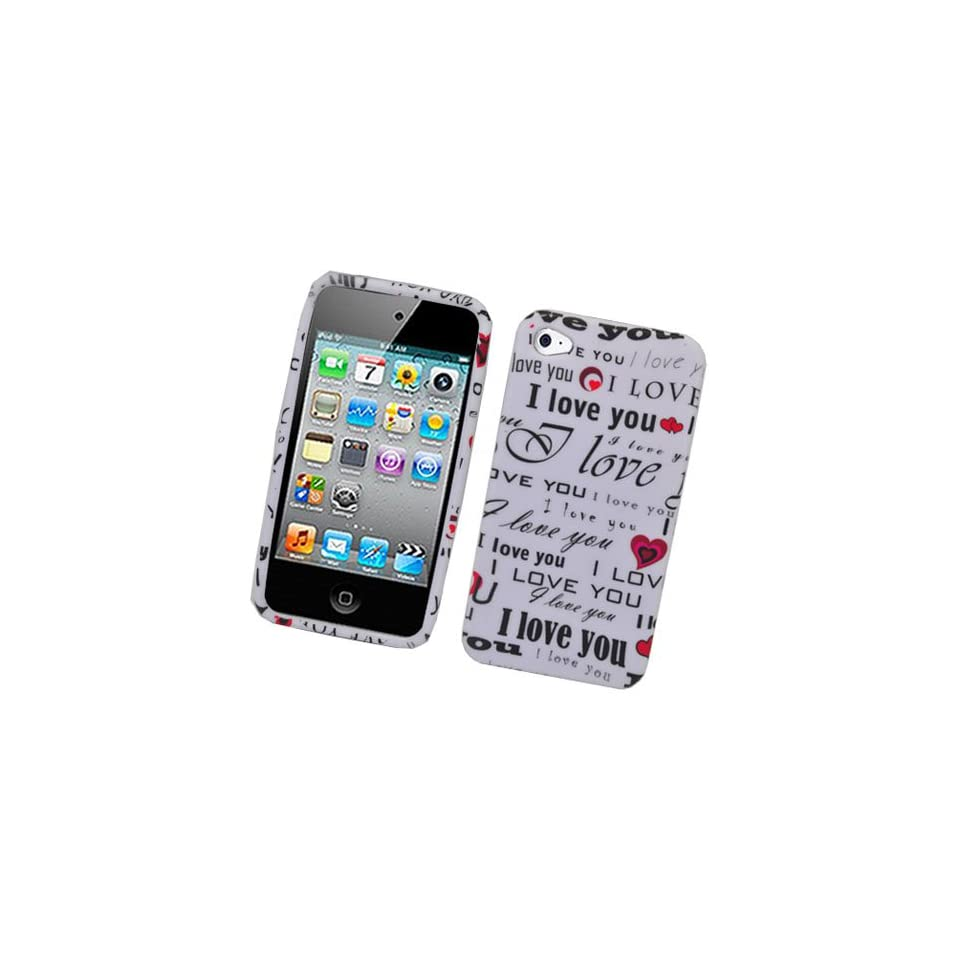 I Love You Soft Silicone Skin Gel Cover Case for AT&T / Verizon Apple Iphone 4 / 4G / Gen / Generation + Microfiber Bag