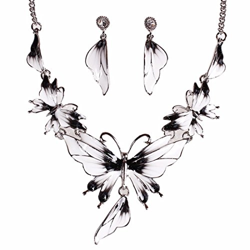 QIYUN.Z Enamel Butterfly Pendant Bib Fringe Y Neck Lariat Necklace Stud Earrings Set (Full Range Jewelry compare prices)