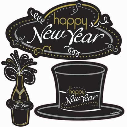 Black, Gold and Silver New Year's Assorted Cutouts 30ct