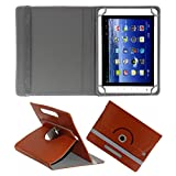 ACM ROTATING 360° LEATHER FLIP CASE FOR BSNL PENTA WS802C TABLET STAND COVER HOLDER BROWN