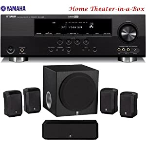 Yamaha 3D-Ready 500 Watt 5.1-Channel Home Theater Receiver With Yamaha 5.1-Channel Home Theater Speaker System + 50 feet 16 Gauge Speaker Wire