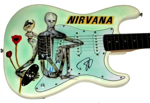 Nirvana Grohl & Novoselic Airbrushed Signed Guitar UACC RD