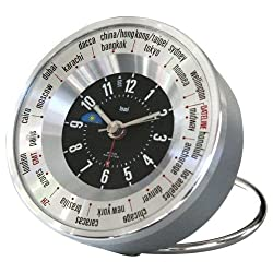 Bai Auto-Align World Trotter Alarm Travel Clock, Silver Black