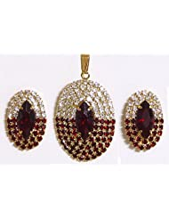 Maroon And White Stone Studded Round Shaped Pendant And Earrings - Stone And Metal - B00K4F26SK