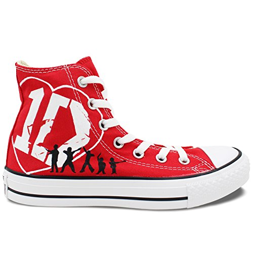 1D Shoes Hand Painted Artwork Converse All Star One Direction Red High Top Canvas Sneaker