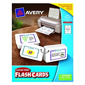 Avery custom print flash cards hole punched for Avery flash cards template