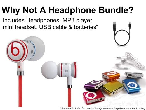 Dr. Dre. Ibeats Headphones (White) Plus 8Gb Clip-On Mp3 Player Kit (W/Controltalk)