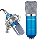 Excelvan® Condenser Sound Recording Microphone + Mic Shock Mount, Ideal for radio broadcasting studio, voice-over sound studio, recording and so on(Blue)
