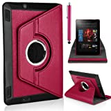 Mobile-Heaven Stylish 360 Degree Rotating Hot Pink Premium PU Leather Smart Stand Multi Function Chrome Flip Pouch Case Cover For Amazon Kindle Fire HD 7