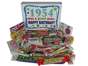 '50s Retro Candy Decade 60th Birthday Gift Box - Nostalgic Candy 1954