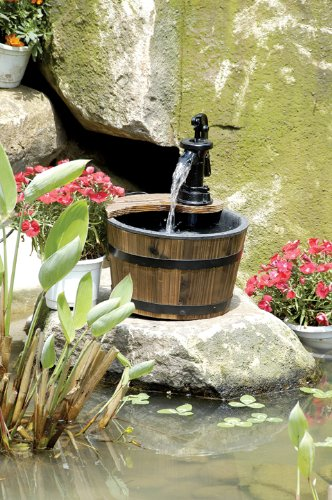 Wood Barrel With Pump Patio Water Fountain Small Garden
