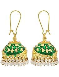 The Jewelbox Flower Gold Plated Green Meenakari Jhumki Earring For Women